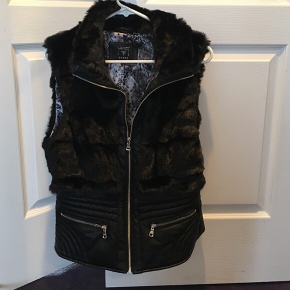 Guess Jackets & Blazers - Guess faux fur and leather vest L